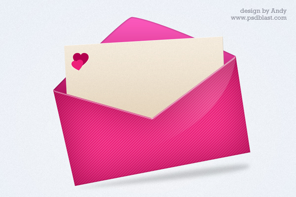 Pink Love Mail Icon PSD