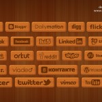 23 Wooden style social icons