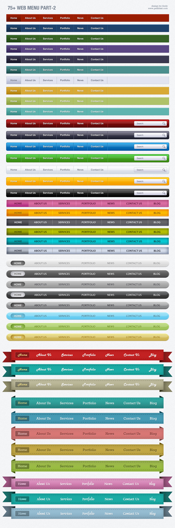 colorful web menus