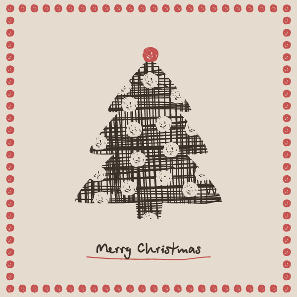 Christmas Tree Card Vector Graphic by dryicons