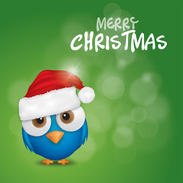 Merry Christmas Bird Vector Graphic