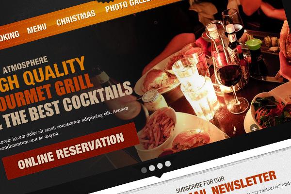 Restaurent web template PSD