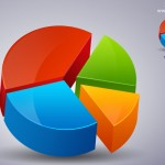 3D pie chart icon PSD