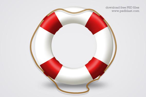 Help icon, life belt PSD