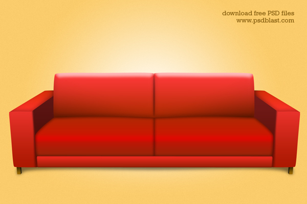 Red sofa Photos... Photoshop Icon Flat