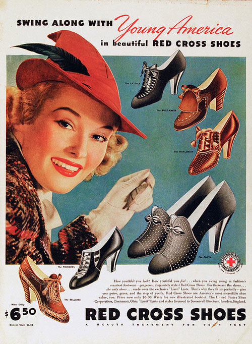 Red Cross Shoes Vintage Advertisement