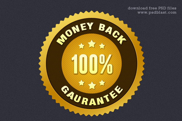 Gold Money Back Guarantee Seal