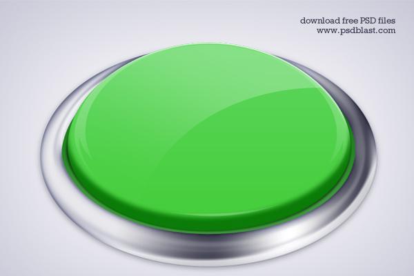 Green Push Button PSD
