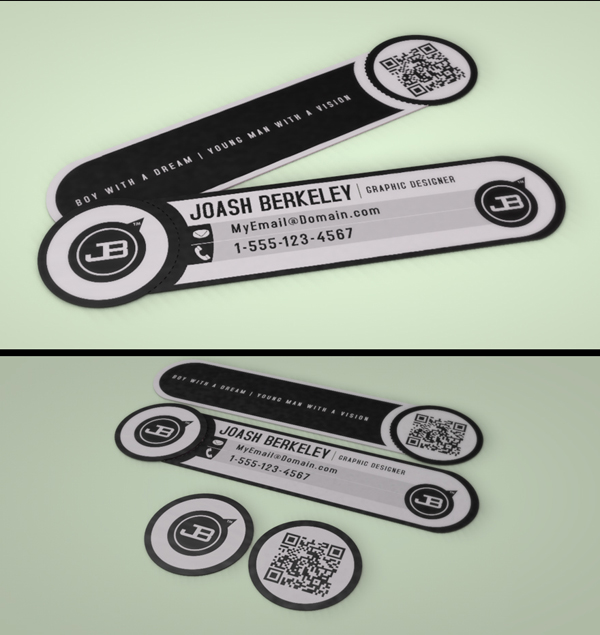 JB Business Card with Removable QR Code Snipet by Joash Berkeley Graphic Design