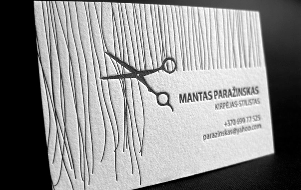 Letterpress Business Card for Hair Stylist by Saulius Dumbliauskas