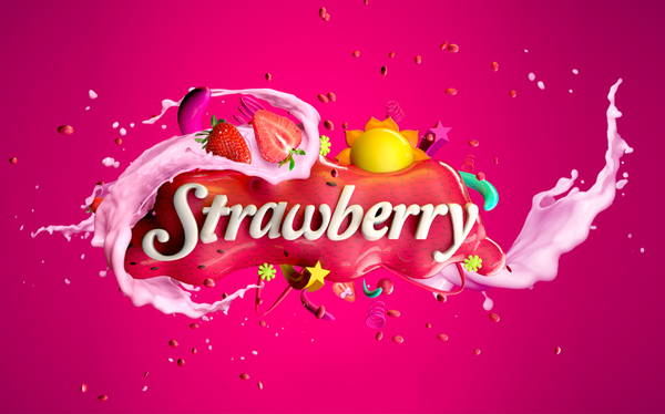 Strawberry Milk typography design by Omar aqil