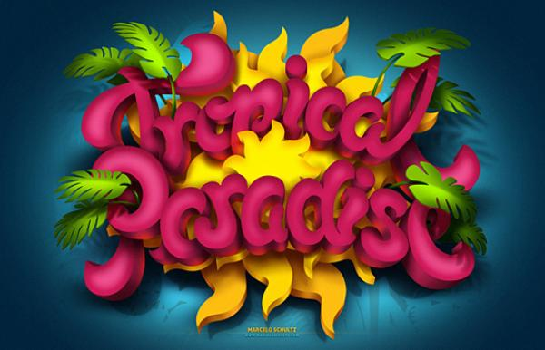 Tropical Paradise typography design by Marcelo Schultz