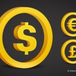 3d Currency Symbol- Golden Dollar Sign, Golden Euro Sign, Golden Pound Sign (PSD)