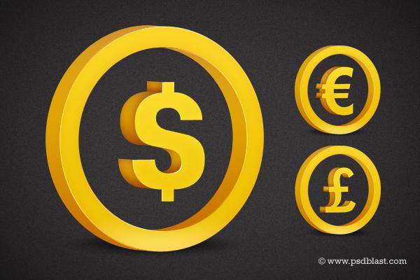 3d Currency Symbol- Golden Dollar Sign, Golden Euro Sign, Golden Pound Sign (PSD)