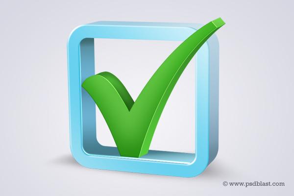 3d Check Box Icon (PSD)
