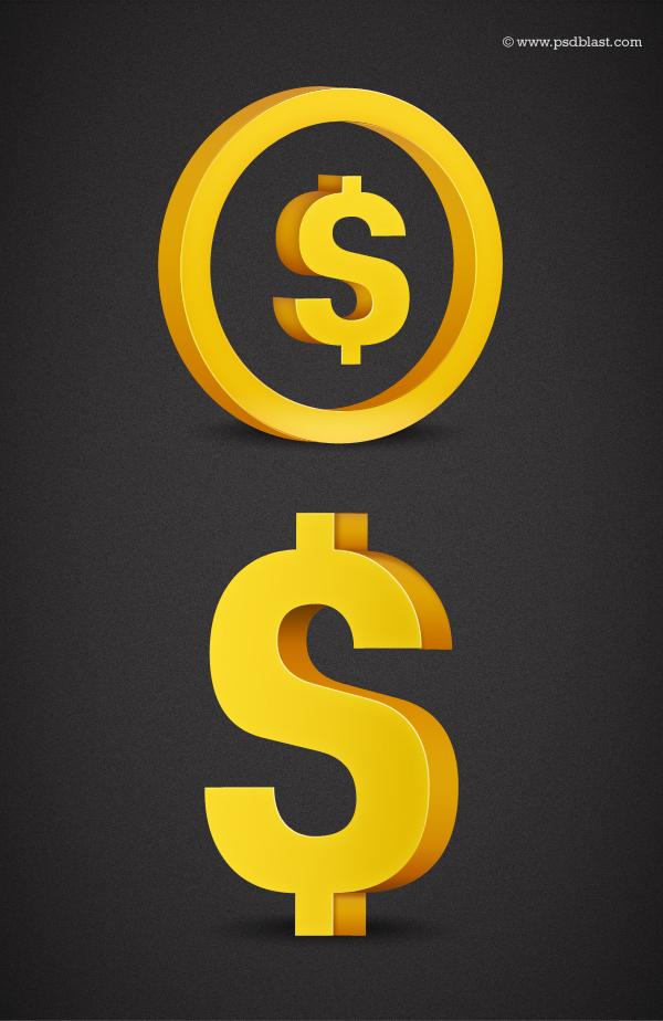 3d Currency Symbol Golden Dollar Sign Golden Euro Sign Golden