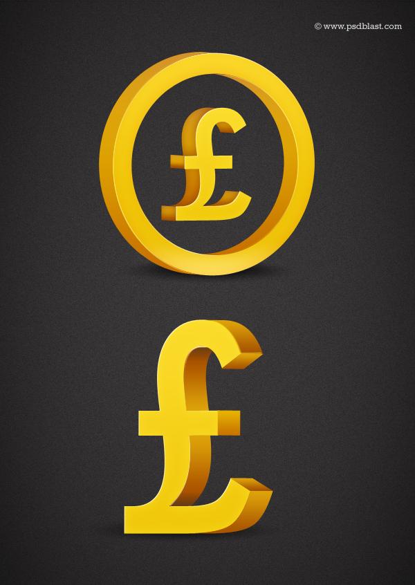 Golden Pound sign PSD