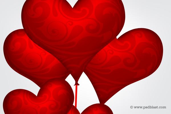 Heart Shape Balloons Valentine Design PSD