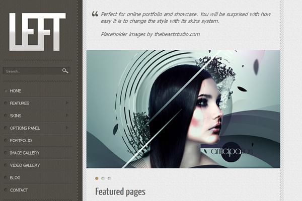 Left - Free Portfolio WordPress Theme
