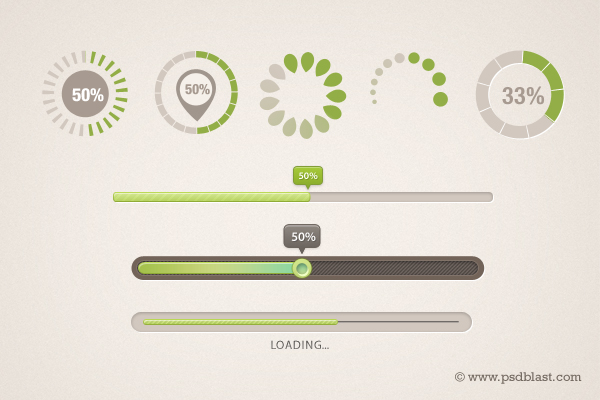 9 Different Shaped Progress Bar PSD Loading Icons