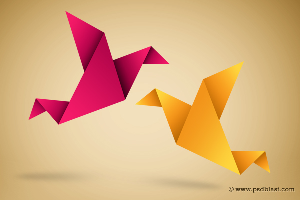Paper Bird Icon, Origami Symbolic Vector Illustration