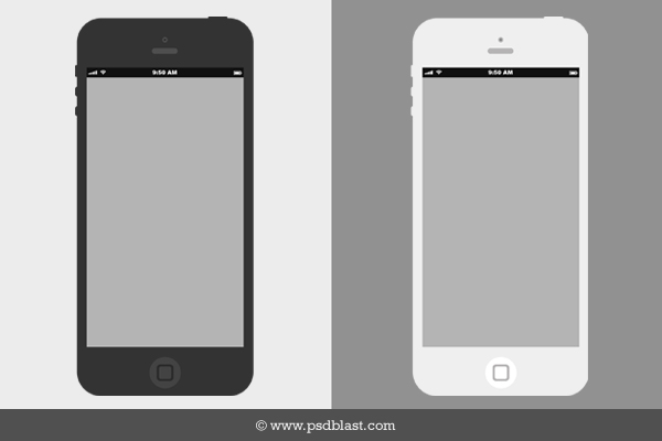 Flat iPhone Wireframe Design PSD
