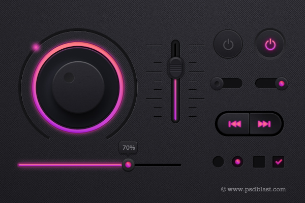 Music player UI kit PSD