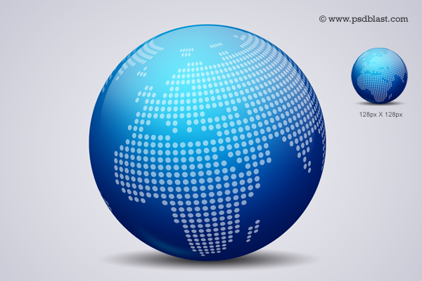 Glossy World Globe Icon (PSD)