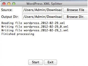 WordPress XML Splitter