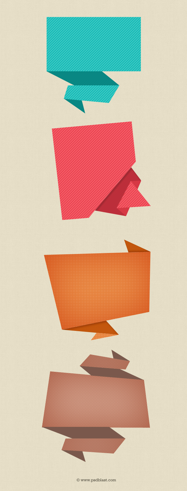 Abstract origami speech bubble design template