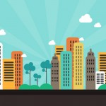 Flat Color City Background (PSD)