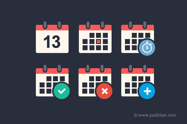 Flat Calendar Icon Set (PSD)