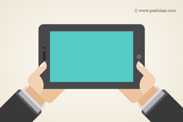 Vector Shape Hand Holding a Touchpad PC Tablet (PSD)