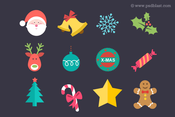 Flat Christmas Icon PSD