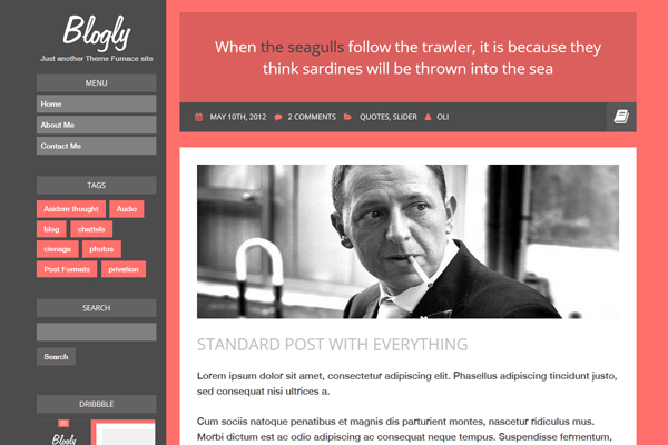Blogly is a responsive personal blog theme