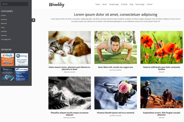 Wembley Bootstrap 3 framework WordPress Theme