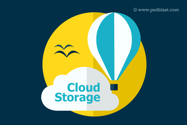 Flat Cloud Storage Icon