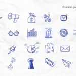 70+ Hand Drawn Icon Set (PSD)