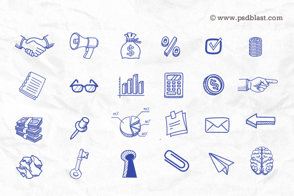 hand drawn icon set