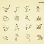 Hand Drawn Business Icons (PSD)