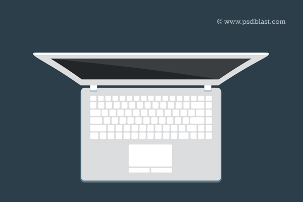 Flat macbook pro top view psd