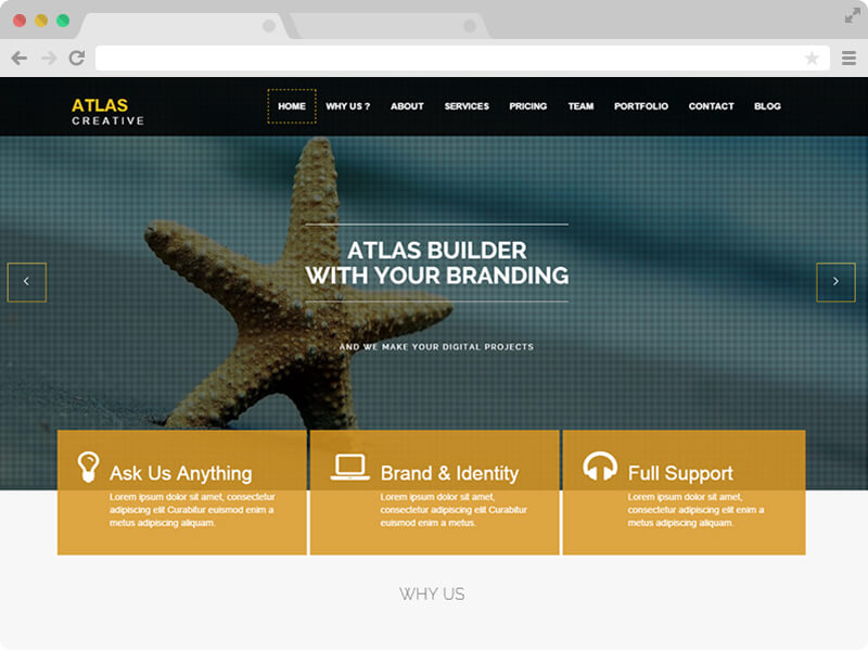Free responsive wordpress theme atlas psdblast using html5 css3 and bootstrap 3 and is a responsive template its elegant and modern design makes it perfect for professional and business websites accmission Images