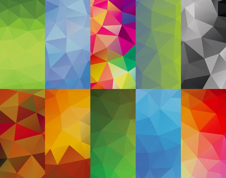 10 Colored Polygonal Backgrounds