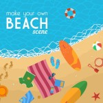 Free Beach Backgrounds and Summer Icons Set