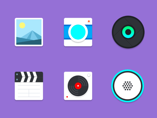 6 Free Material Multimedia Icons PSD