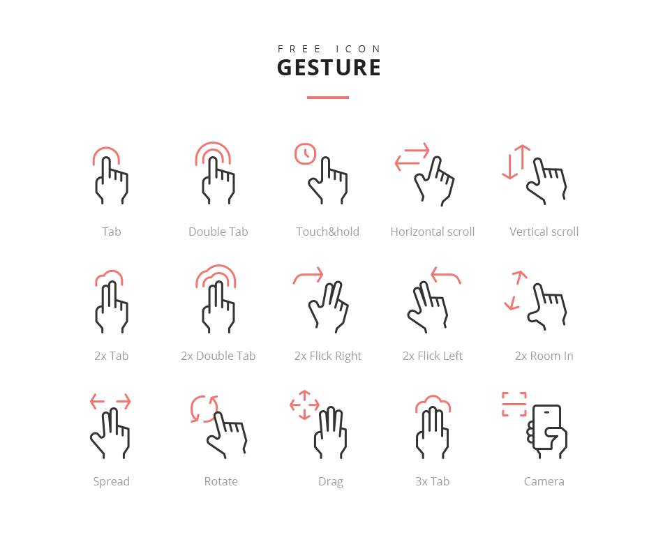 15 Touch Screen Gesture Icons Psd Psdblast