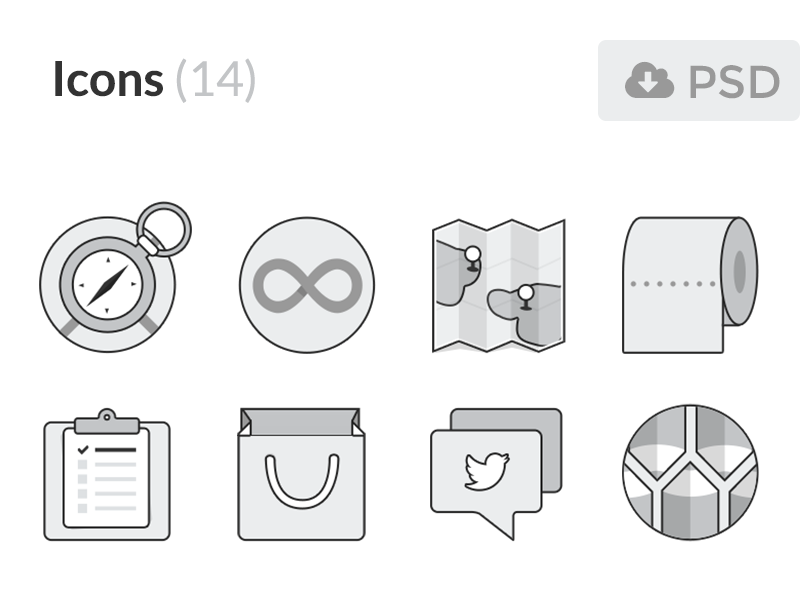 Free Monochromatic Flat Icons PSD