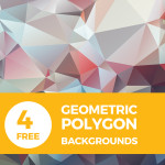 4 High-Resolution Geometric Polygon Backgrounds