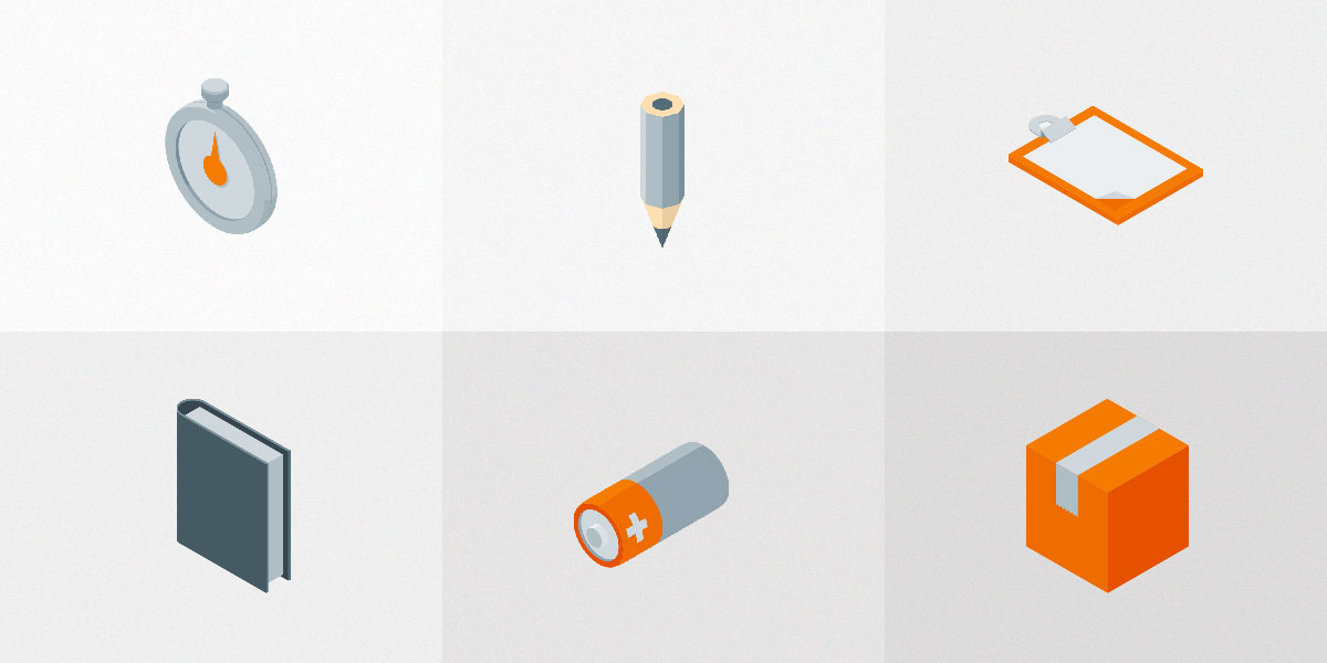6 Free Isometric Material Icons PSD