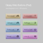 8 Glossy Web Buttons Set PSD